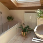 Badezimmer mit Badewanne, Dusche und Waschbecken