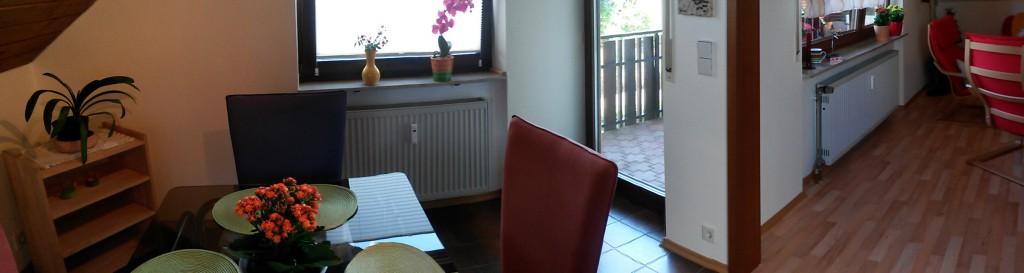 Panorama Esszimmer-, Balkon-, Wohnzimmer-Übergang
